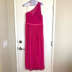 Pink Prom Bridesmaid Dress One Shoulder Size 10